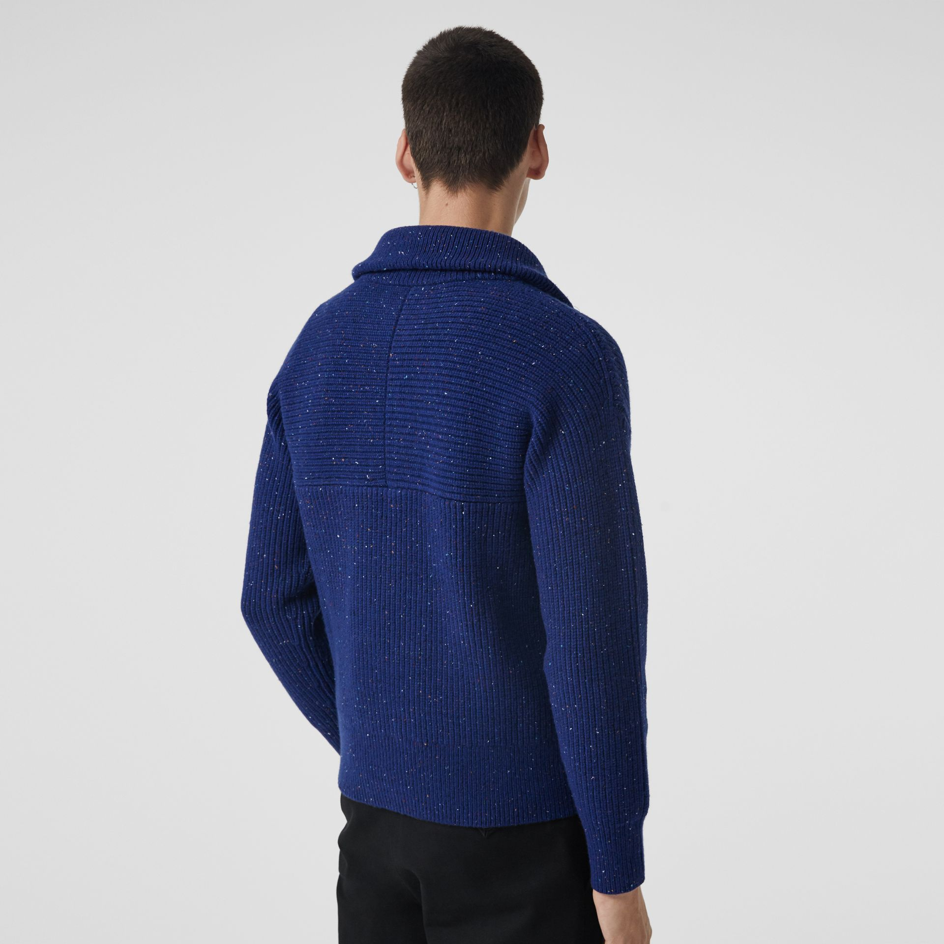 Rib Knit Wool Cashmere Blend Half-zip Sweater in Navy - Men | Burberry - gallery image 2