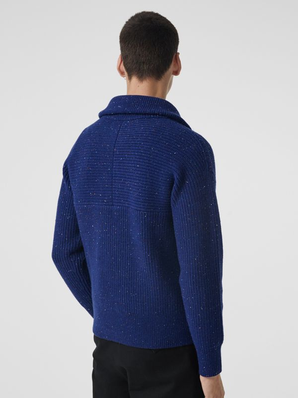 Rib Knit Wool Cashmere Blend Half-zip Sweater in Navy - Men | Burberry Canada - cell image 2