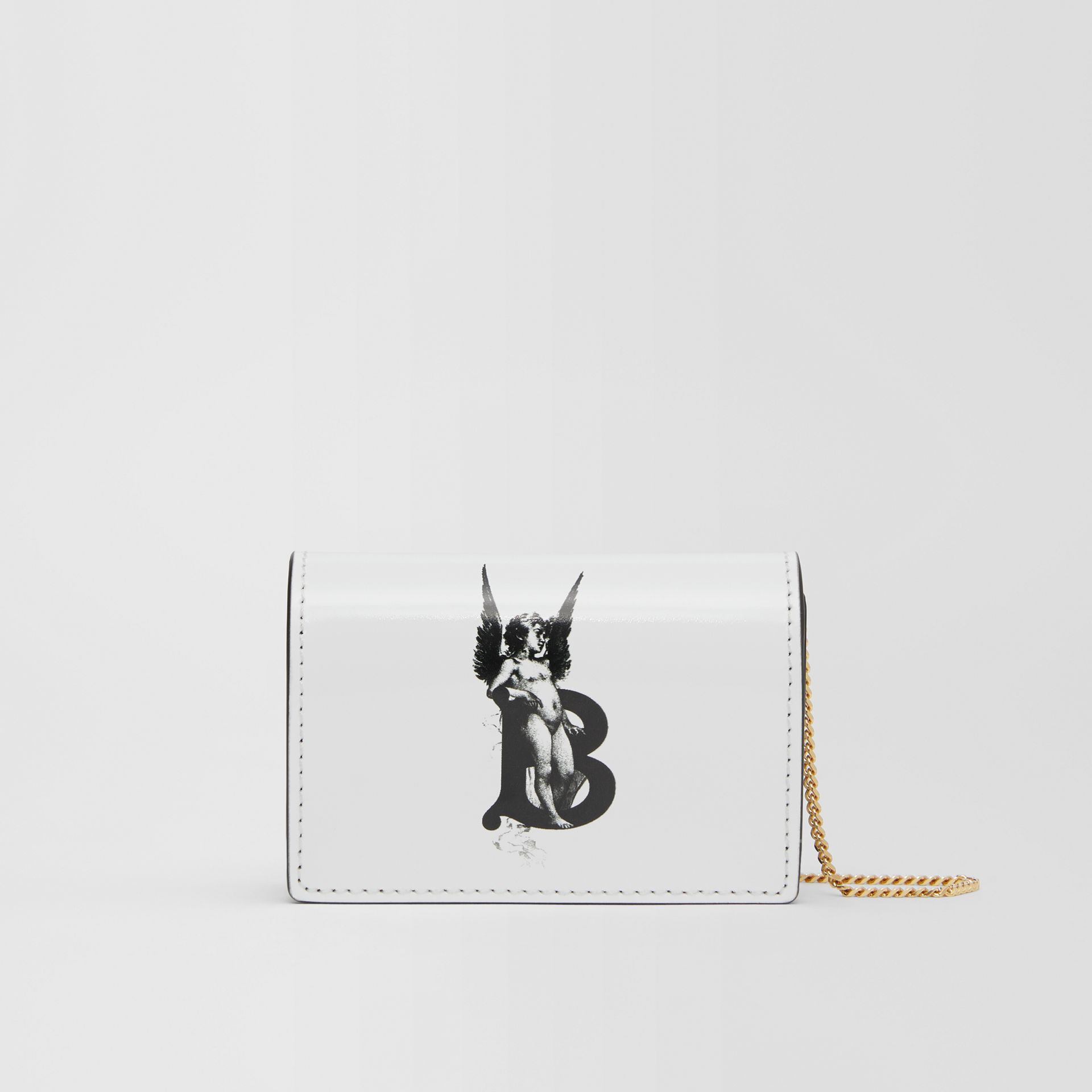 Cherub Print Card Case with Detachable Strap in White | Burberry - gallery image 0