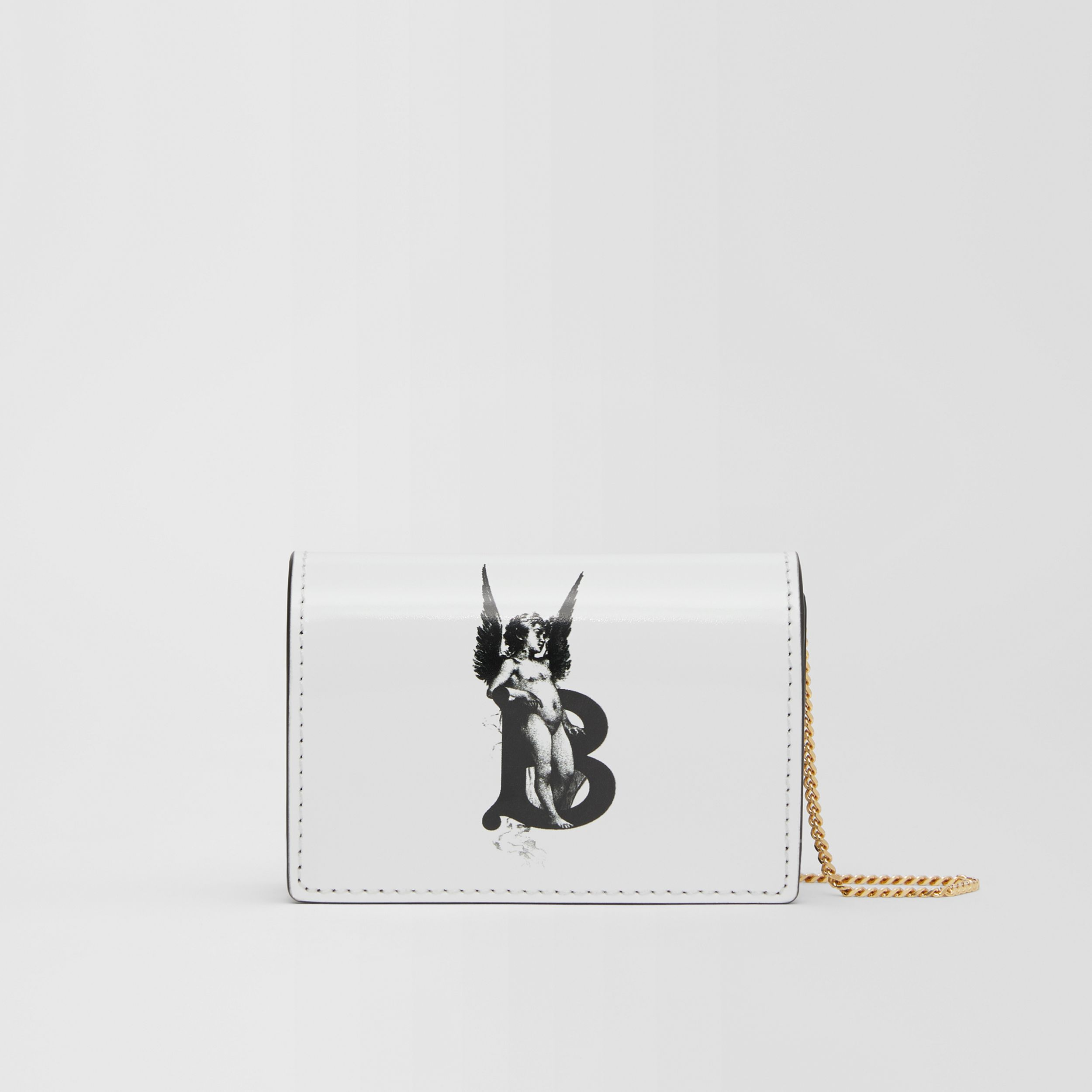 Cherub Print Card Case with Detachable Strap in White | Burberry Hong Kong S.A.R - 1