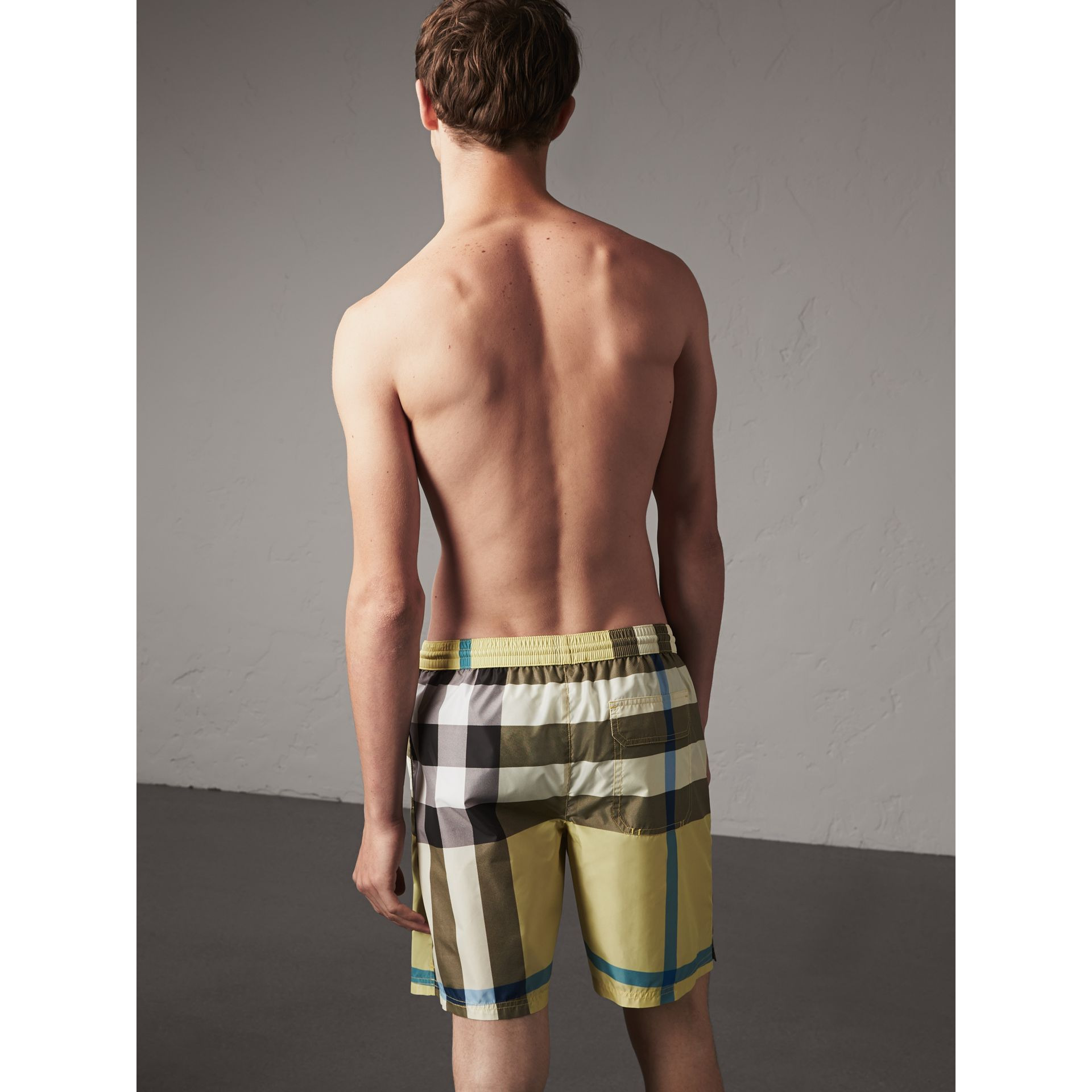 Check Swim Shorts in Pale Yellow - Men | Burberry - gallery image 3