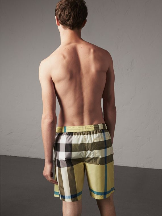 Check Swim Shorts in Pale Yellow - Men | Burberry - cell image 2