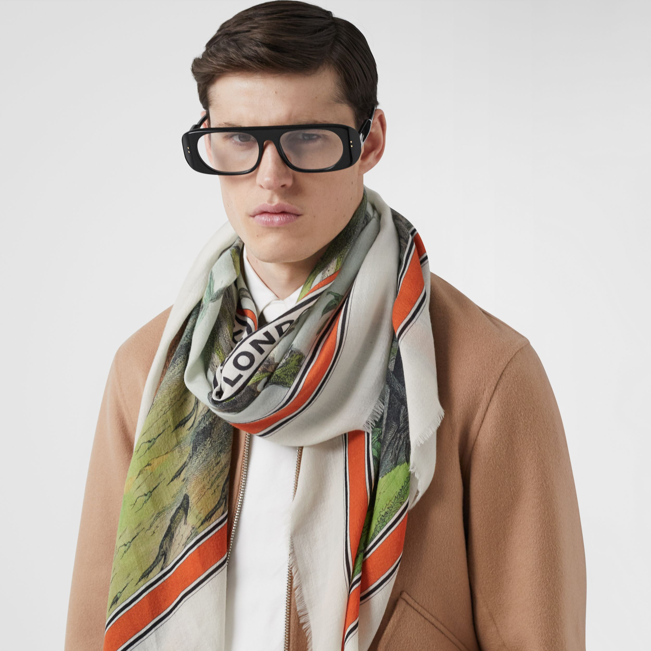 Monkey Print Lightweight Cashmere Scarf in Opal Green | Burberry - 4