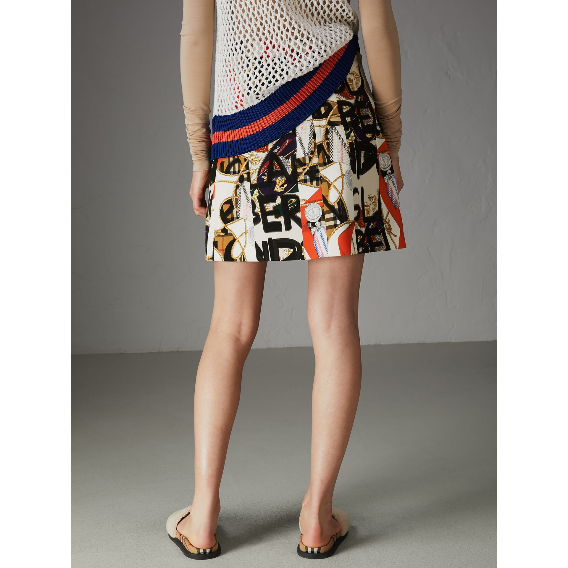 Graffiti Archive Scarf Print Silk Wool Mini Skirt in Stone - Women | Burberry Australia - gallery image 2