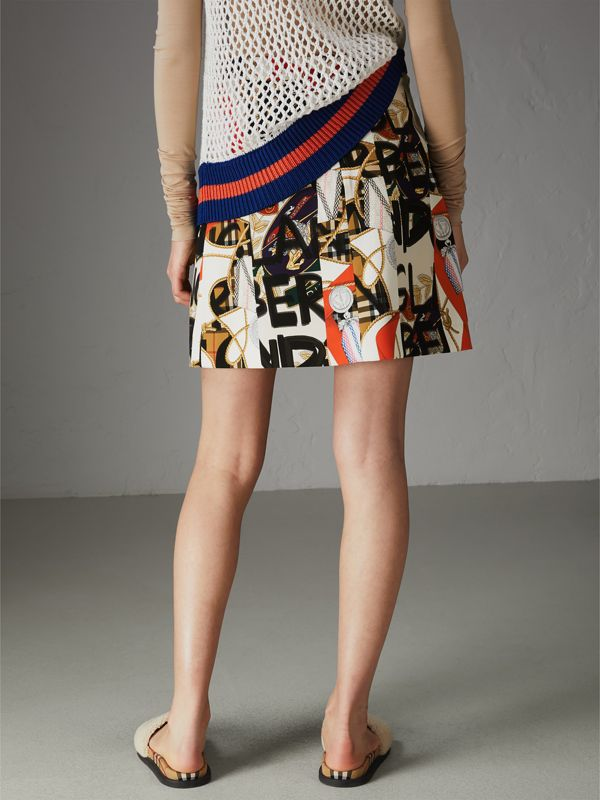 Graffiti Archive Scarf Print Silk Wool Mini Skirt in Stone - Women | Burberry Australia - cell image 2