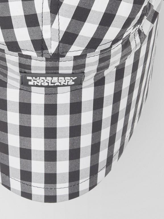Logo Appliqué Gingham Cotton Bonnet Cap in Black/white | Burberry - cell image 1