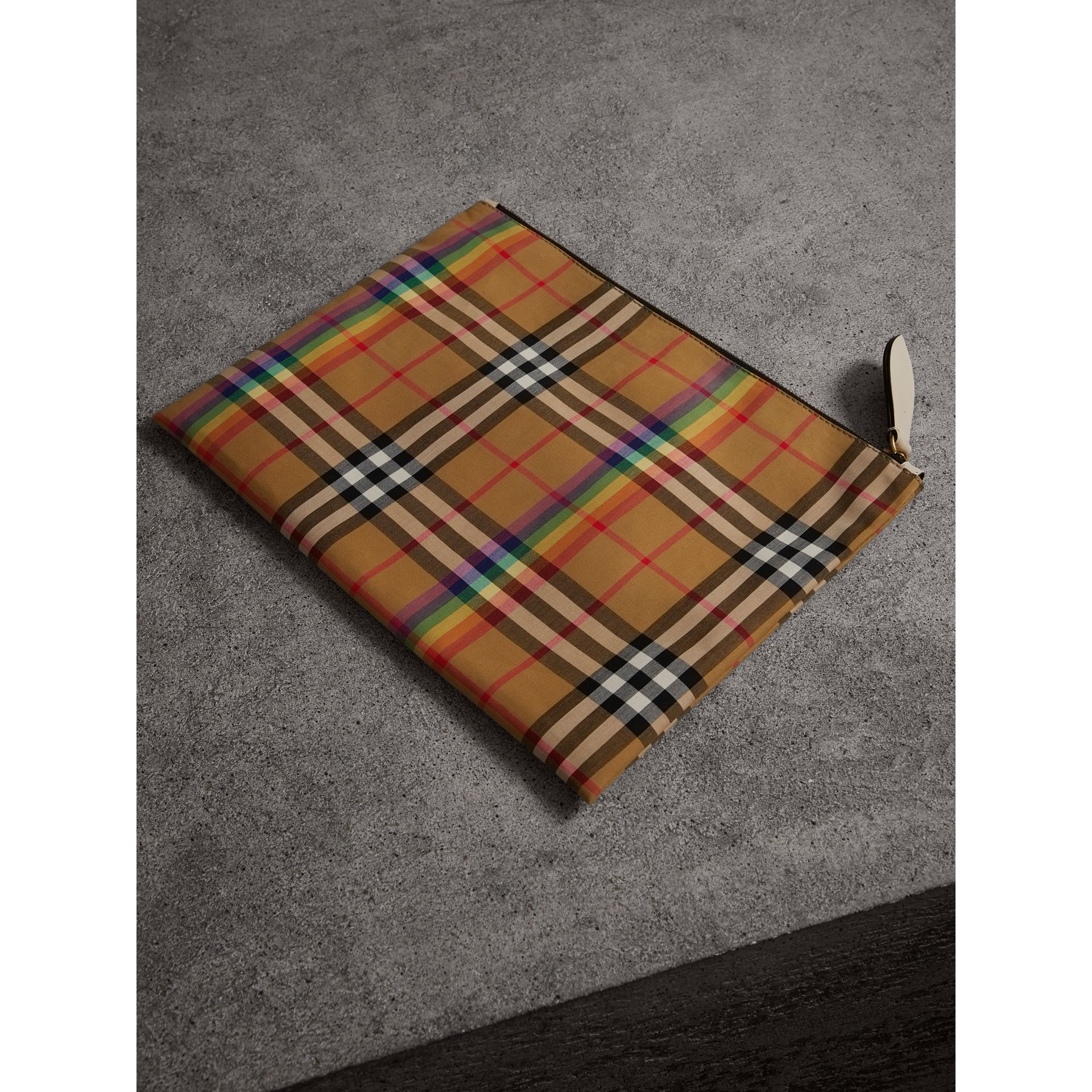 Medium Rainbow Vintage Check Pouch in Natural | Burberry United States - gallery image 6