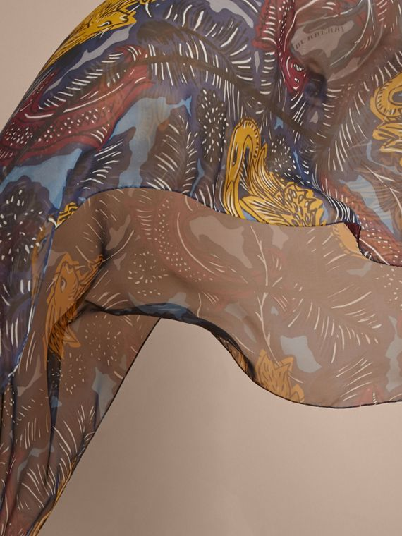 Beasts Print Lightweight Silk Scarf in Navy Grey - Women | Burberry - cell image 3