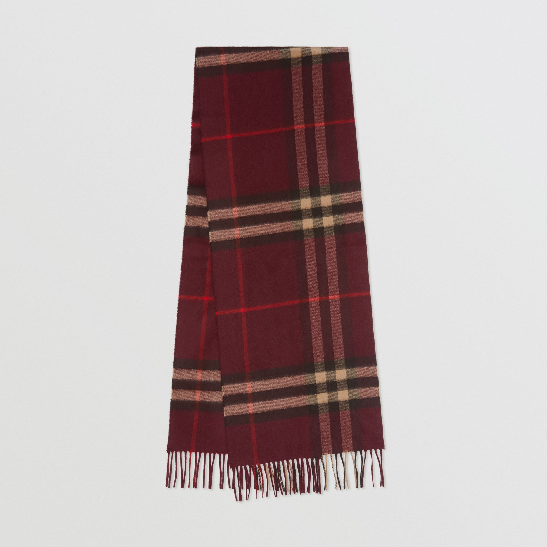 The Classic Check Cashmere Scarf in Burgundy | Burberry United Kingdom - gallery image 0