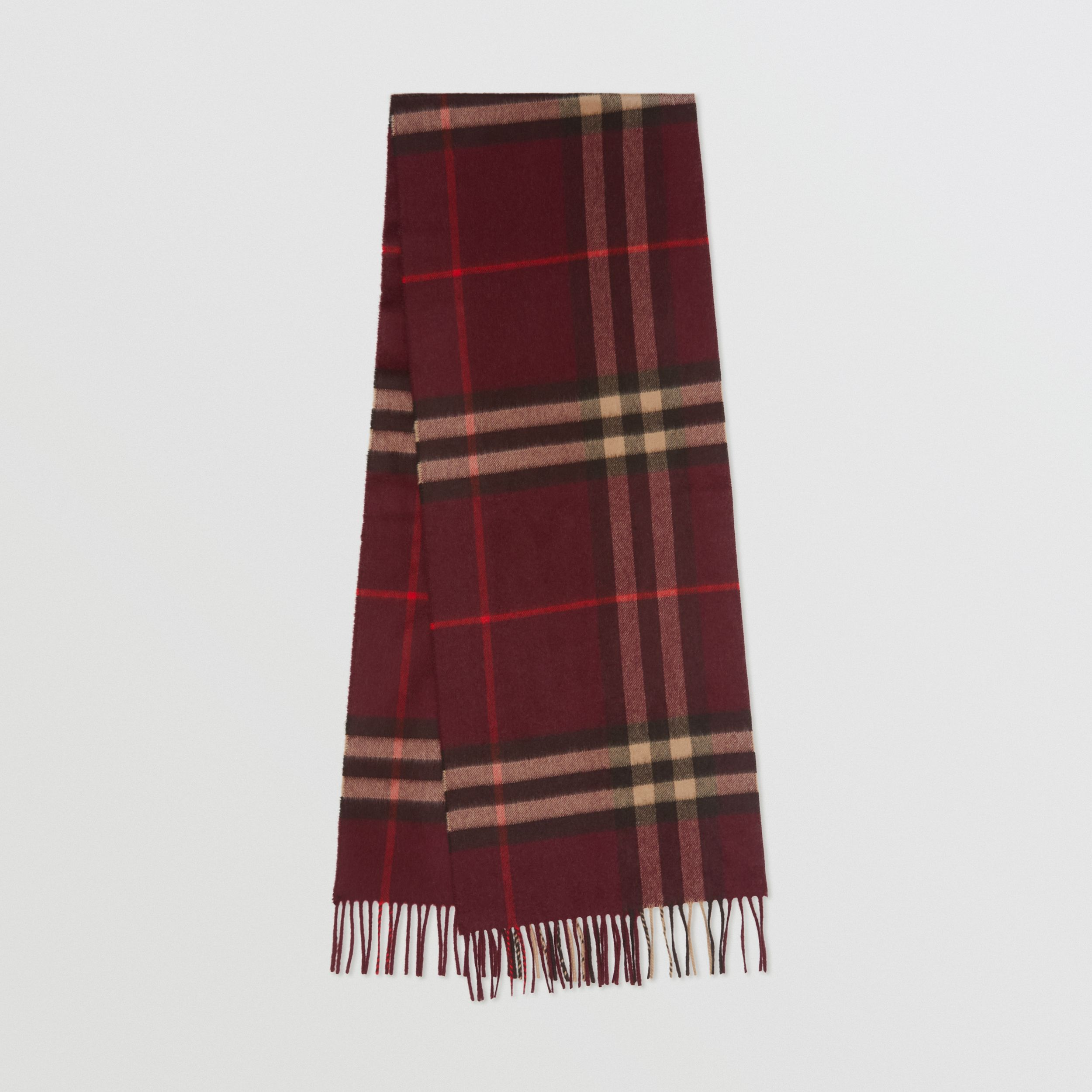 The Classic Check Cashmere Scarf in Burgundy | Burberry Canada - 1