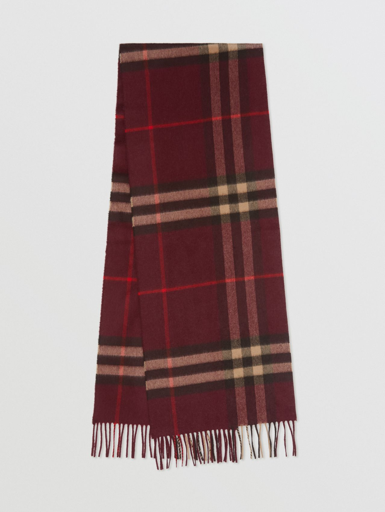 The Classic Check Cashmere Scarf (Burgundy)