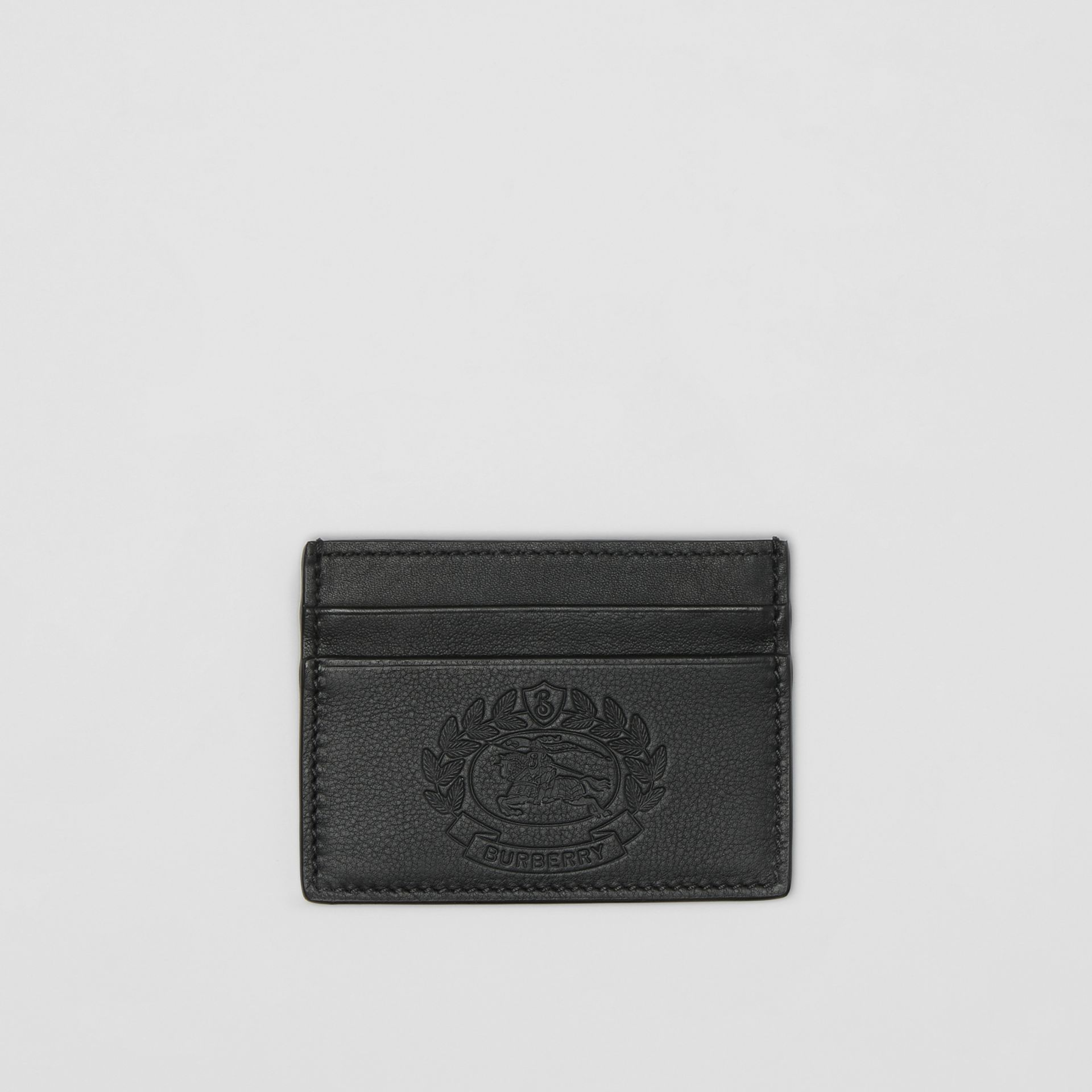 Embossed Crest Leather Card Case in Black | Burberry - gallery image 0