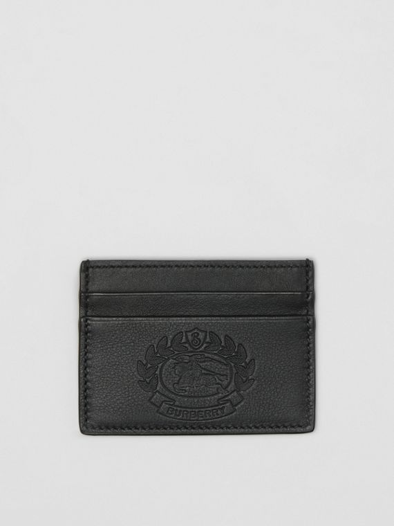 Embossed Crest Leather Card Case in Black