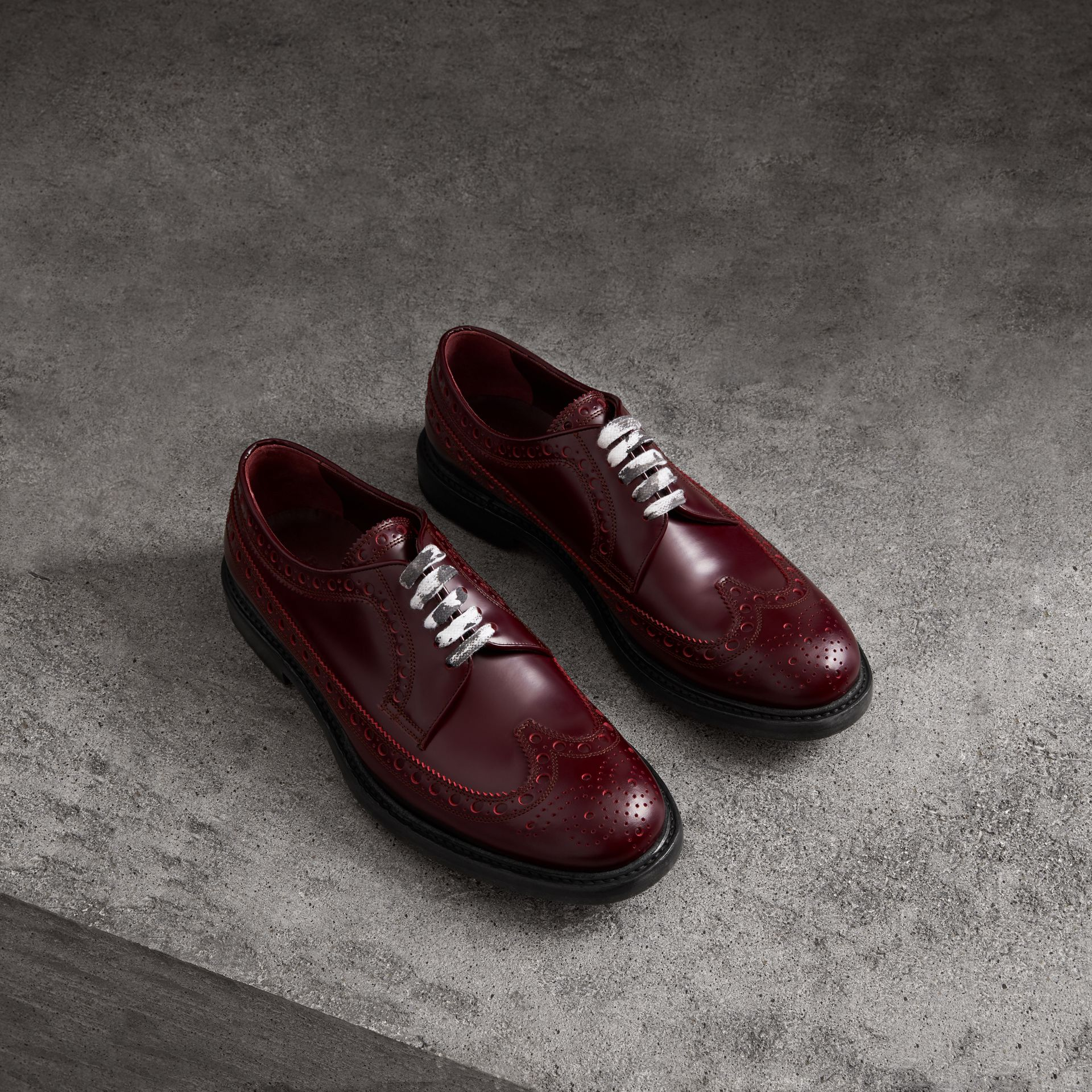 Leather Brogues with Painted Laces in Ebony Red - Men | Burberry Singapore - gallery image 0