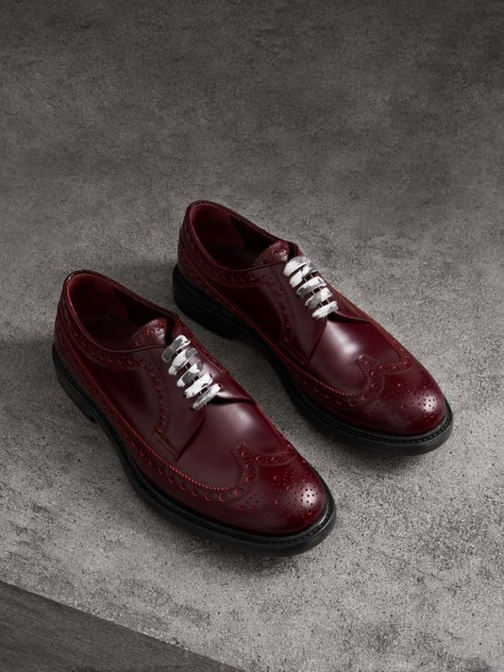Leather Brogues with Painted Laces in Ebony Red