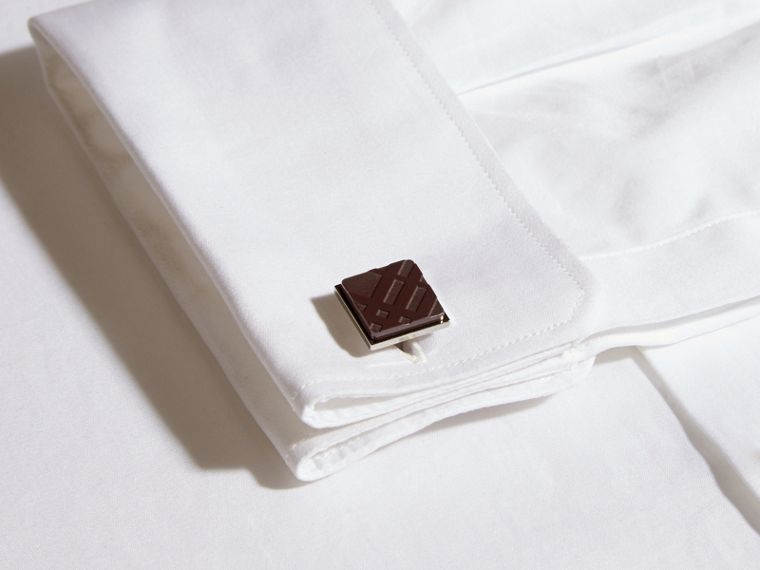 Claret Check-engraved Square Cufflinks Claret - cell image 1