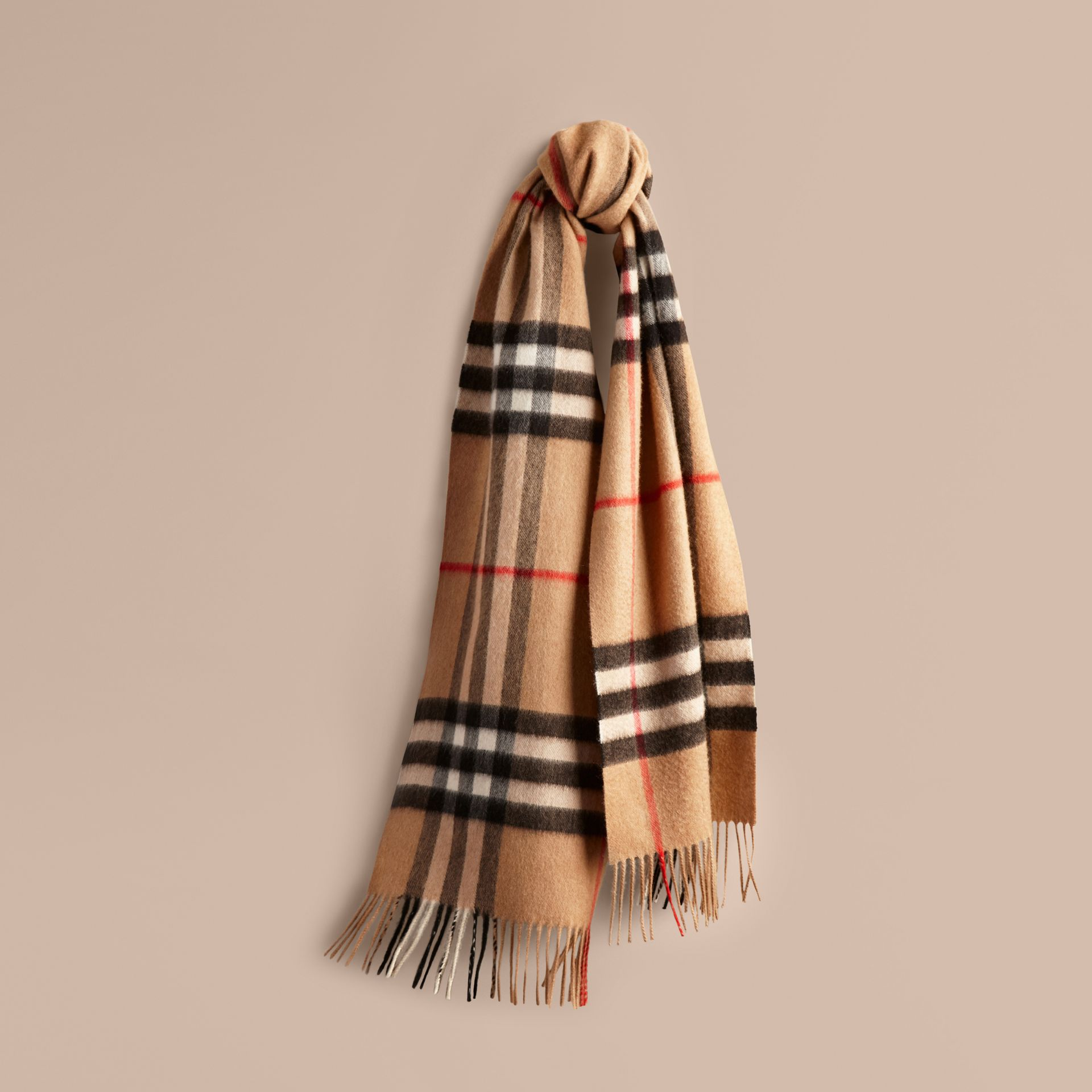 The Classic Cashmere Scarf in Check Camel - gallery image 6