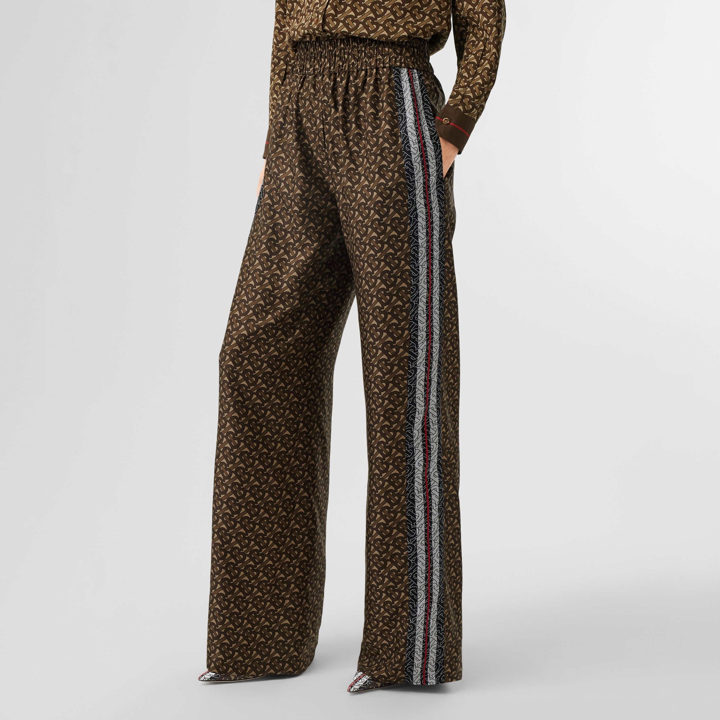 Monogram Stripe Print Silk Wide-leg Trousers in Bridle Brown - Women | Burberry - 3