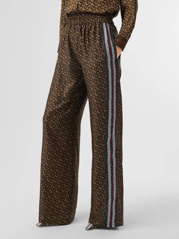 Monogram Stripe Print Silk Trousers in Bridle Brown - Women | Burberry - cell image 2