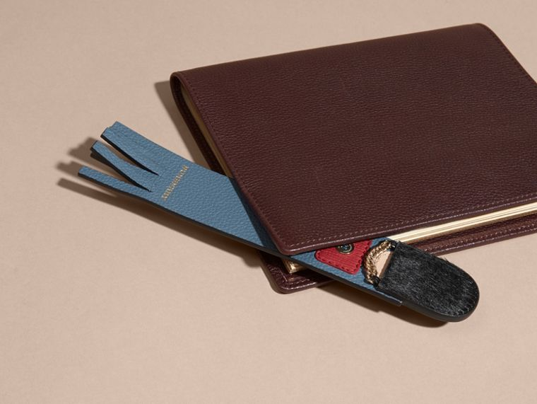 The Grenadier Grainy Leather Bookmark in Dusty Teal | Burberry - cell image 2