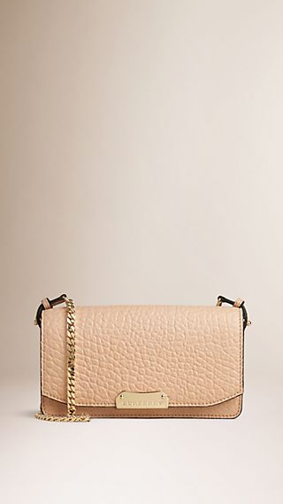 Signature Grain Leather Clutch Bag with Chain
