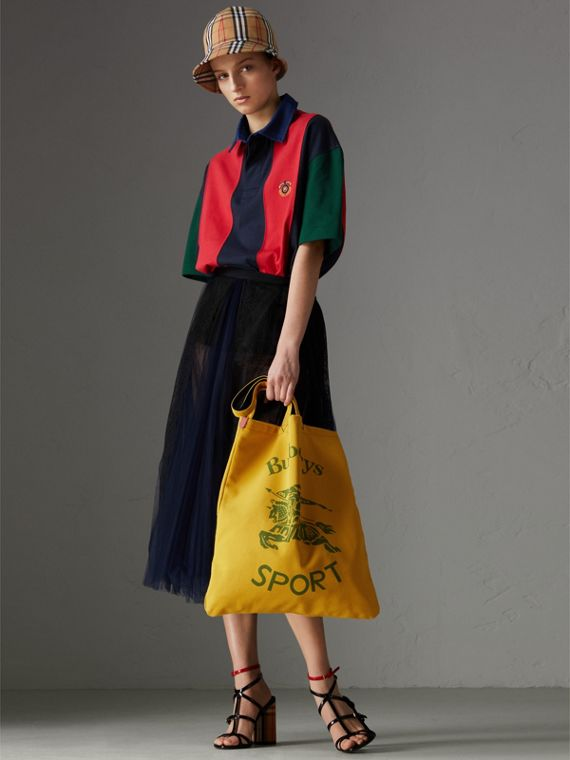 Large Archive Logo Jersey Shopper in Ochre Yellow | Burberry Australia - cell image 2