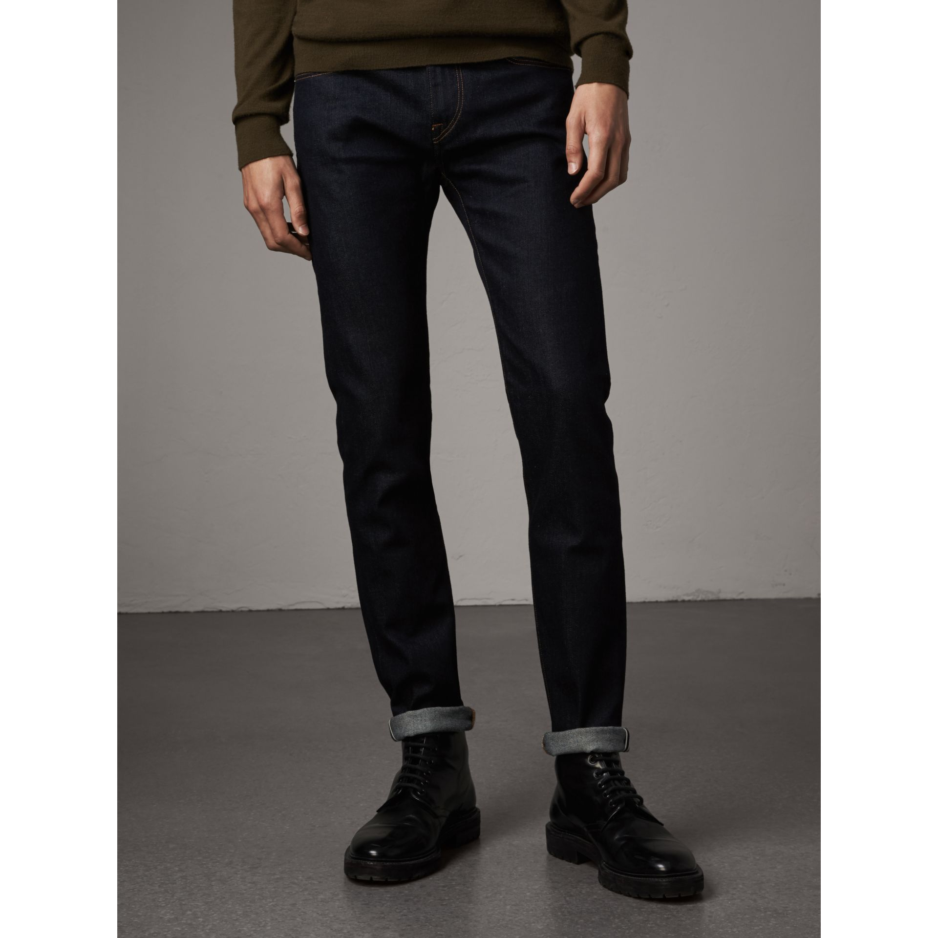 Slim Fit Stretch Japanese Selvedge Denim Jeans in Dark Indigo - Men | Burberry Canada - gallery image 1