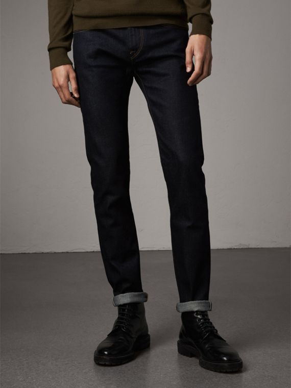 Slim Fit Stretch Japanese Selvedge Denim Jeans in Dark Indigo