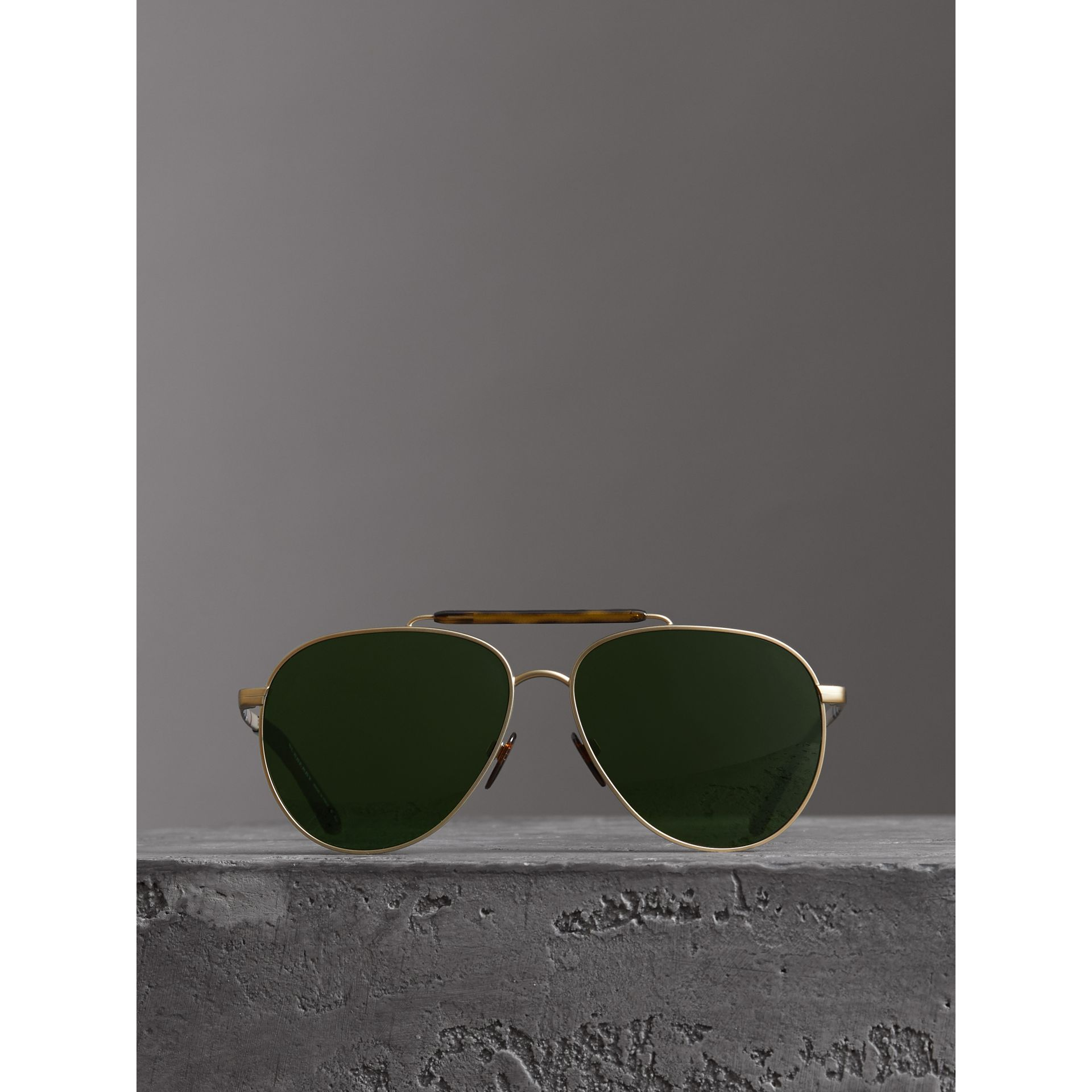 Top Bar Detail Pilot Sunglasses in Green - Men | Burberry - gallery image 2