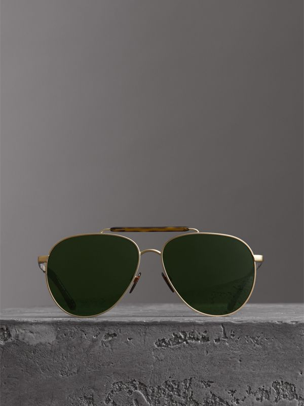 Top Bar Detail Pilot Sunglasses in Green - Men | Burberry - cell image 3