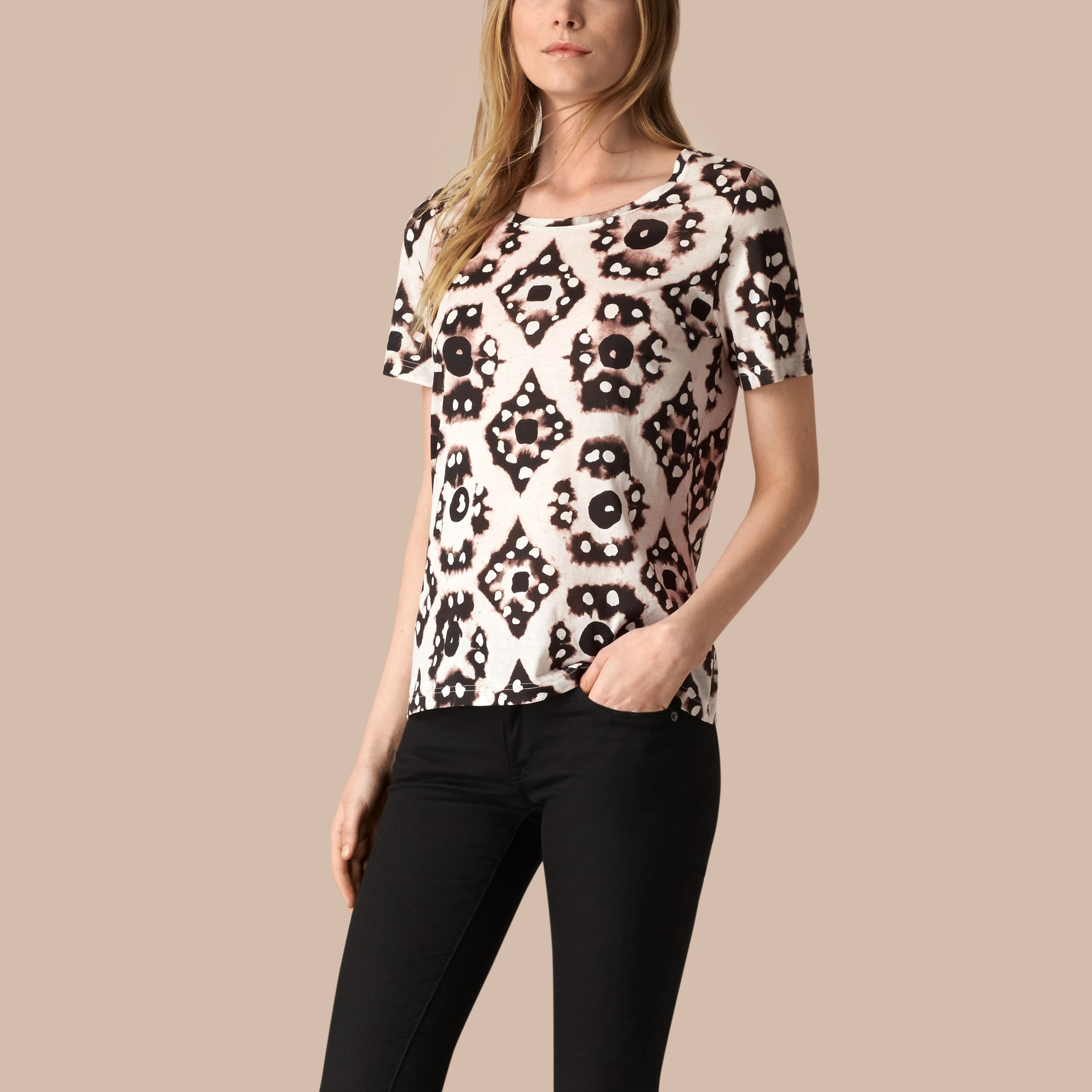 Nero/bianco T-shirt in cotone con stampa tipo tintura a riserva Nero/bianco - immagine della galleria 1