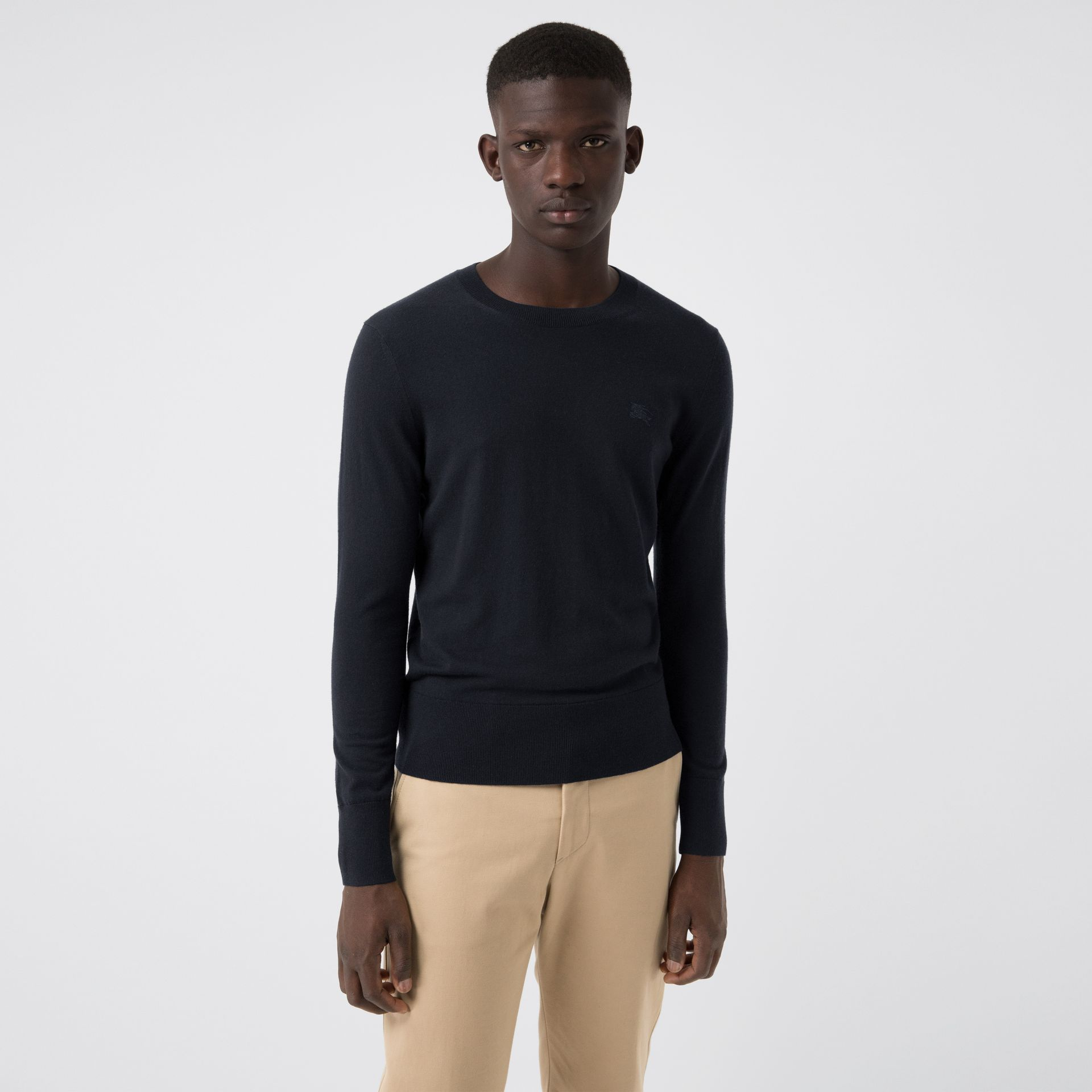 Crew Neck Cashmere Sweater in Navy - Men | Burberry United States - gallery image 4