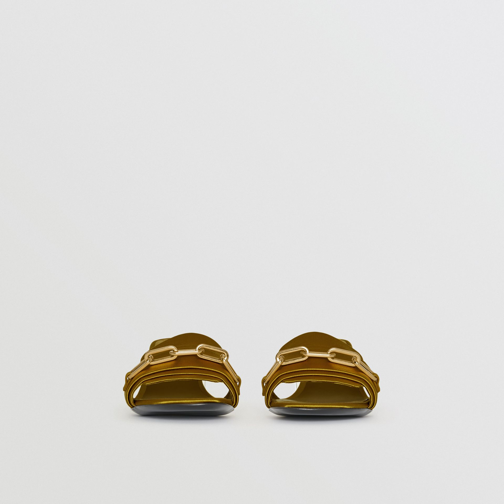 Link Detail Satin Heeled Slides in Antique Yellow - Women | Burberry - gallery image 3