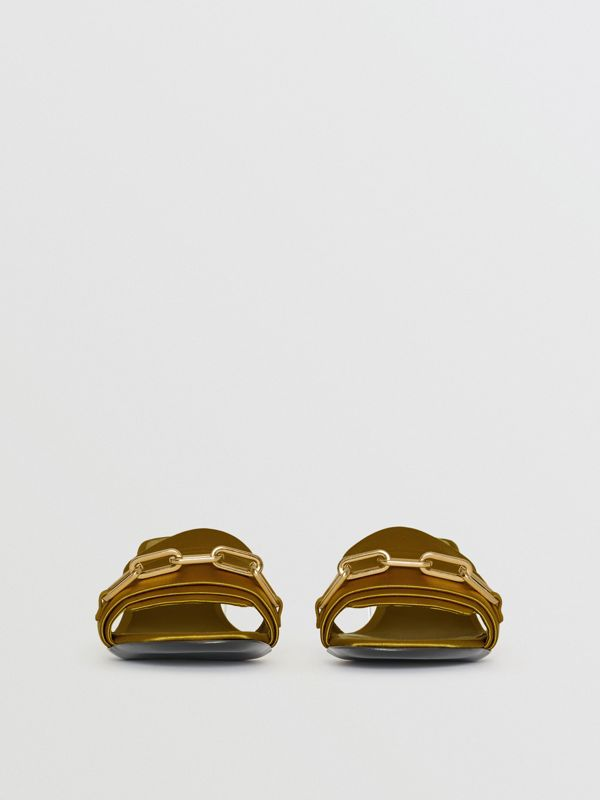 Link Detail Satin Heeled Slides in Antique Yellow - Women | Burberry - cell image 3