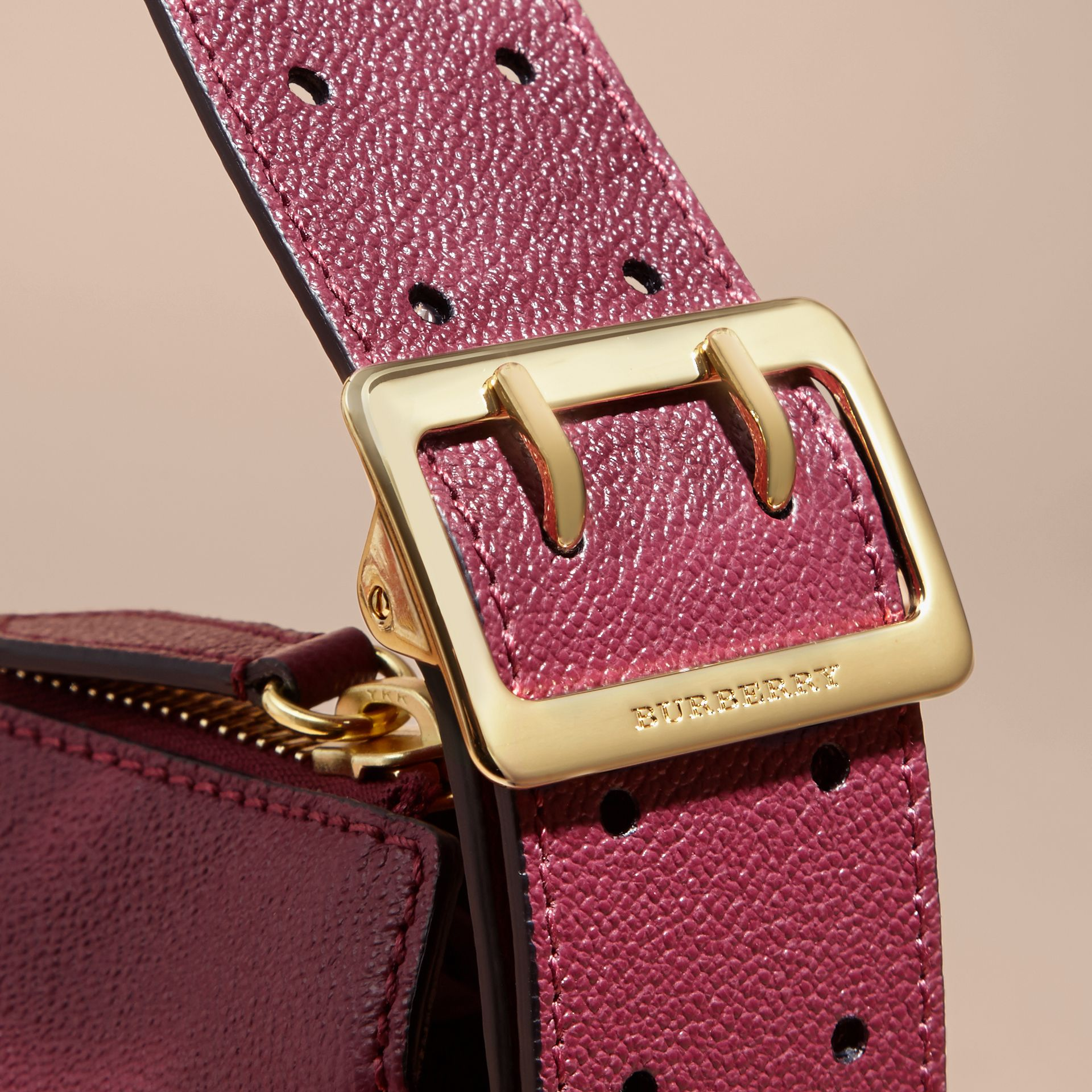 Buckle Detail Leather and House Check Crossbody Bag in Dark Plum - Women | Burberry - gallery image 2