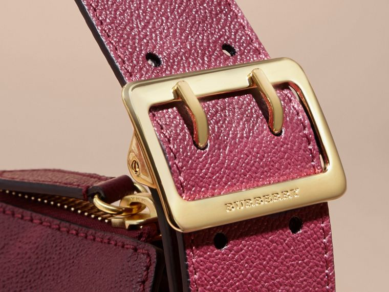 Buckle Detail Leather and House Check Crossbody Bag in Dark Plum - Women | Burberry - cell image 1