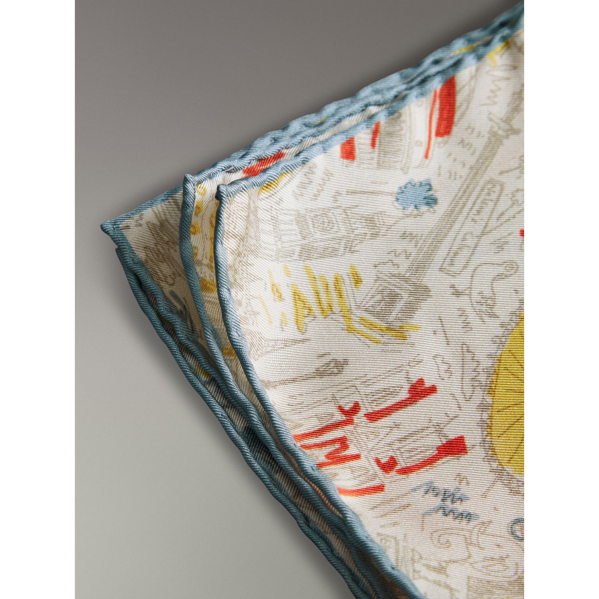 London Print Silk Pocket Square in Steel Blue - Men | Burberry United States - gallery image 1