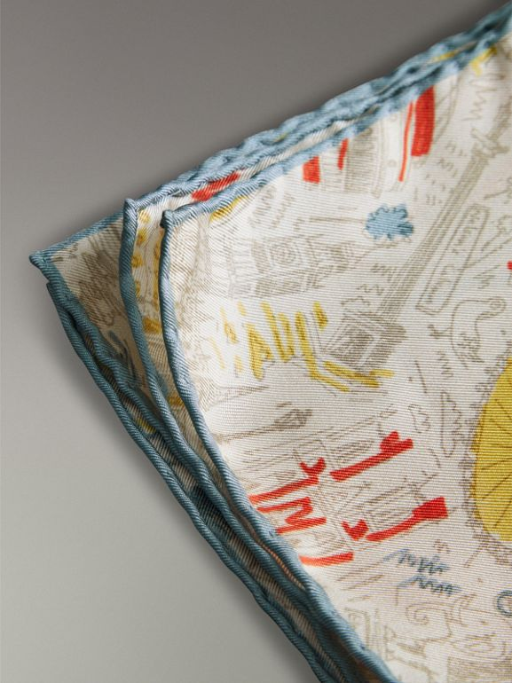 London Print Silk Pocket Square in Steel Blue - Men | Burberry United States - cell image 1
