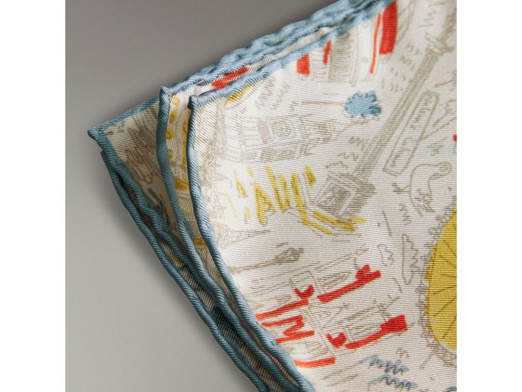 London Print Silk Pocket Square in Steel Blue - Men | Burberry United Kingdom - cell image 1