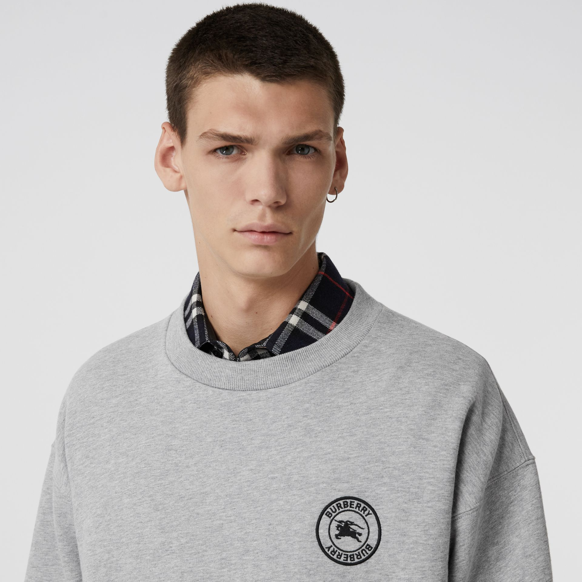 Embroidered Logo Jersey Sweatshirt in Pale Grey Melange - Men | Burberry Singapore - gallery image 1