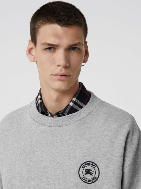 Embroidered Logo Jersey Sweatshirt in Pale Grey Melange - Men | Burberry Singapore - cell image 1