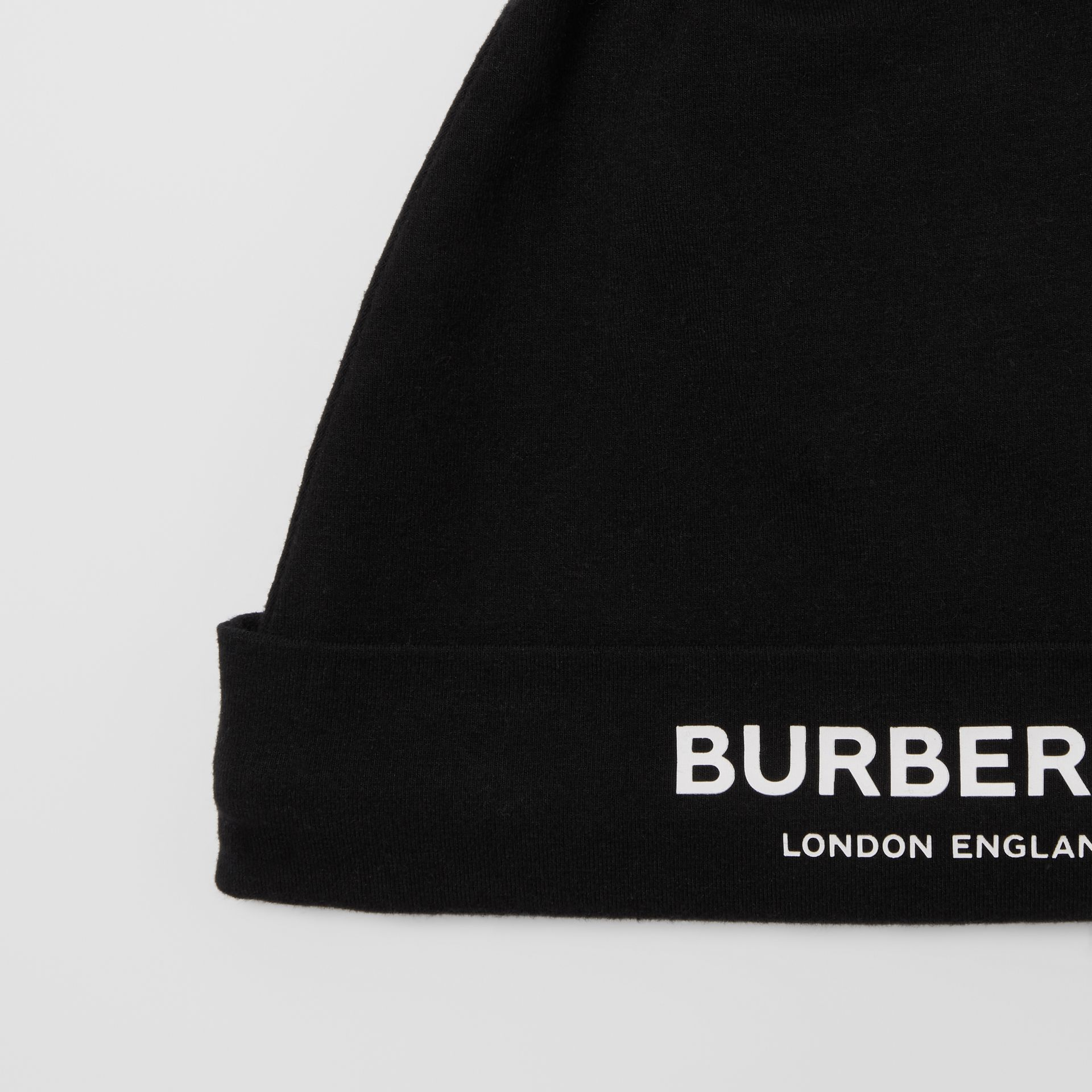 Logo Print Stretch Cotton Two-piece Baby Gift Set in Black - Children | Burberry United Kingdom - gallery image 7