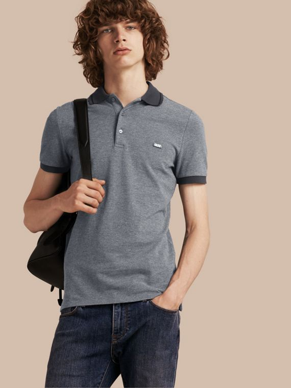 Contrast Trim Cotton Piqué Polo Shirt Mid Grey Melange