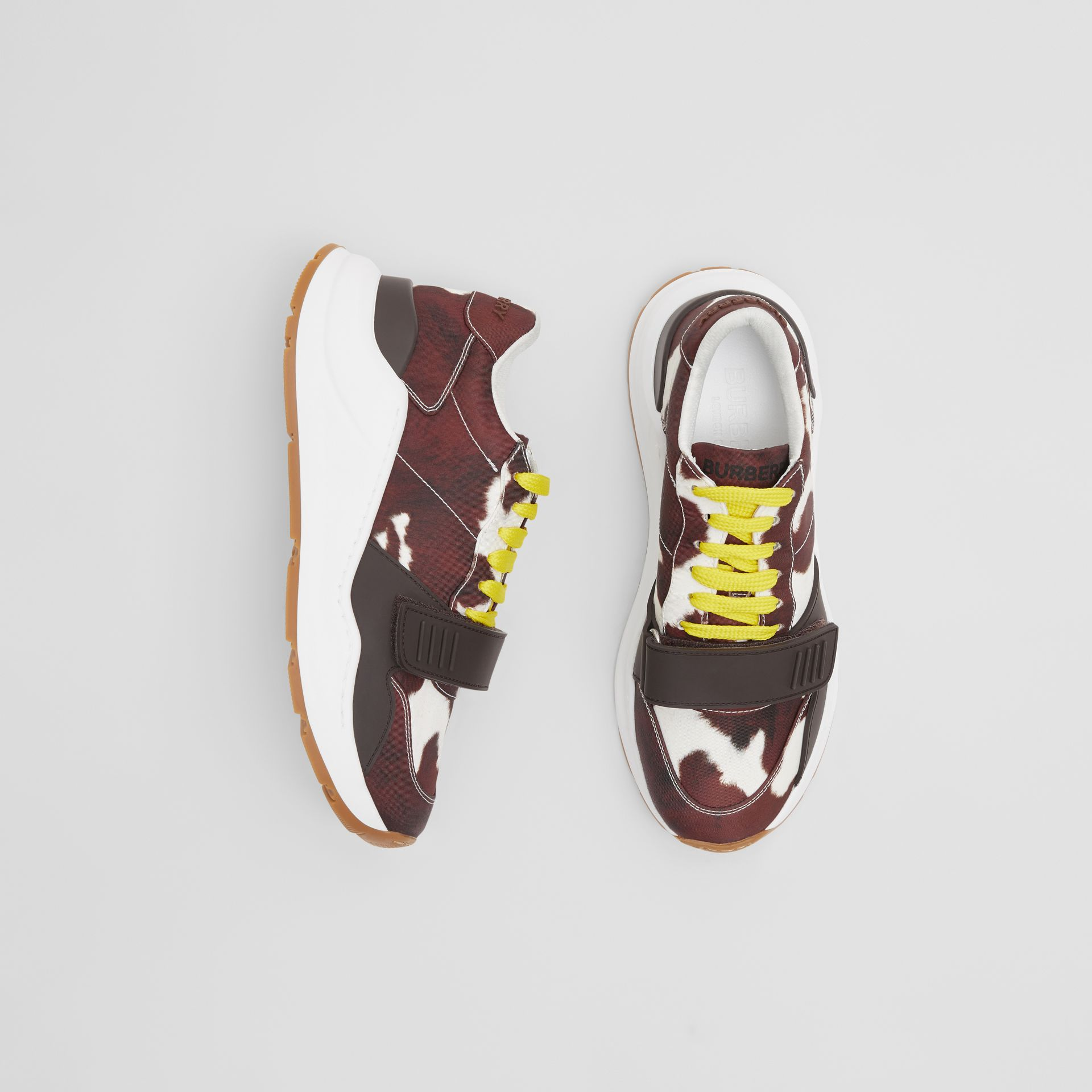 Cow Print Nylon Sneakers in Brown - Women | Burberry United States - gallery image 0