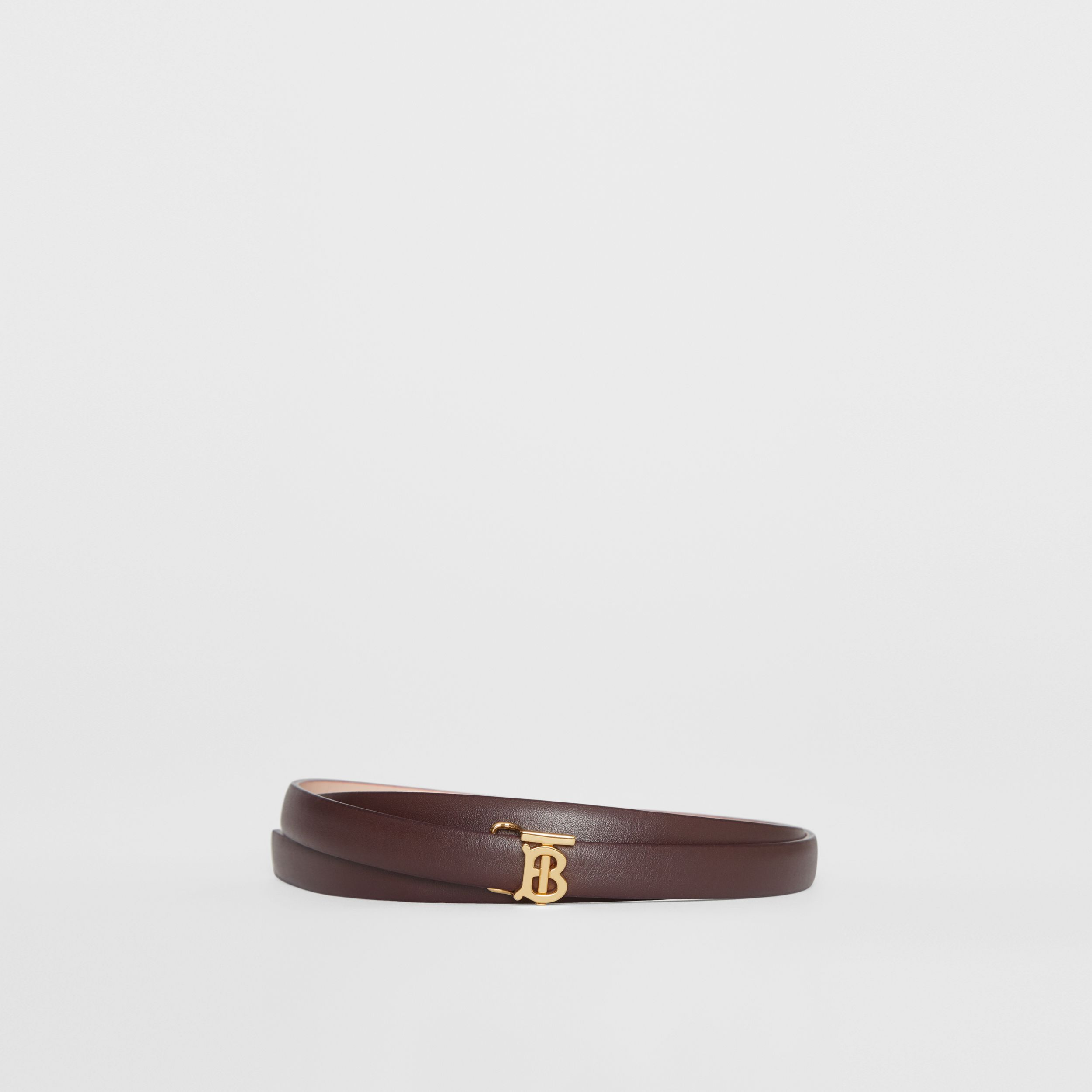 Reversible Monogram Motif Leather Wrap Belt in Oxblood/rose Beige - Women | Burberry - 1