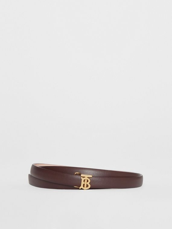 Reversible Monogram Motif Leather Wrap Belt in Oxblood/rose Beige