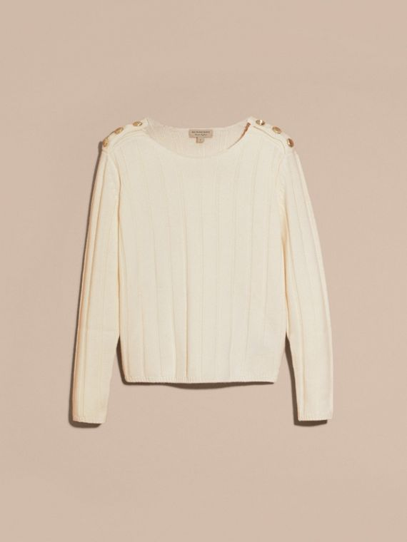 Natural white Ribbed Wool Cashmere Sweater - cell image 3