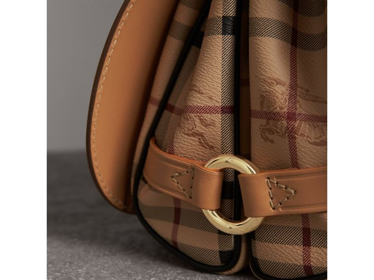 The Bridle Bag in Fruit and Flowers Riveted Leather in Pale Clementine - Women | Burberry Canada - cell image 1