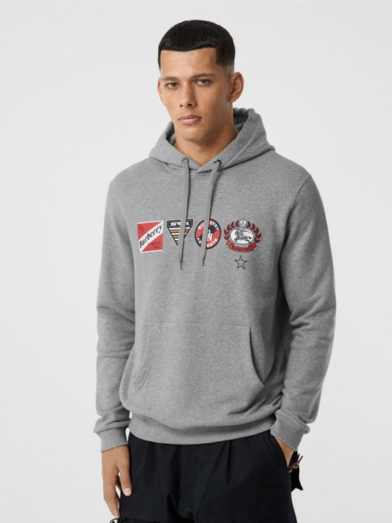 Logo Graphic Cotton Oversized Hoodie in Pale Grey Melange