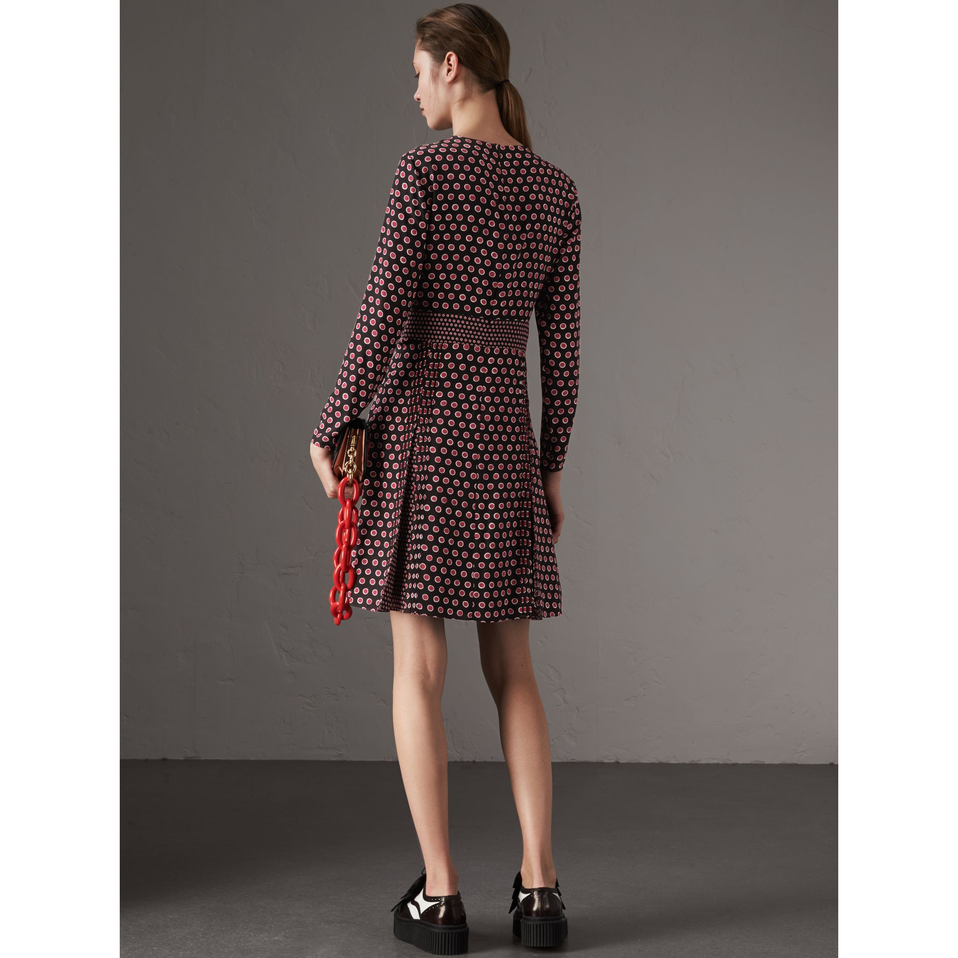 Long-sleeve Spot Print Silk Dress in Parade Red - Women | Burberry - gallery image 3